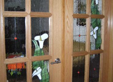 CALAS. Vidriera decorativa. Puertas de salón con Cuarterones. Técnica Tiffany realizada por Natalia Benchoam