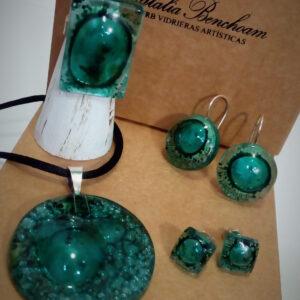 Colección Burbuja. Colgante, pendientes, anillo. Vidrio y Plata de Ley realizada por Natalia Benchoam