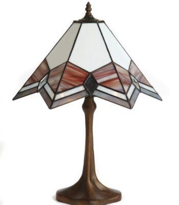 Lámpara. Técnica Tiffany. Vidrios opalinos y biselados